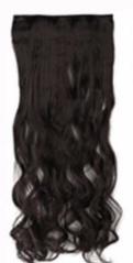 Clip in hair extensions strook / zwart 1b# golvend /  73 cm