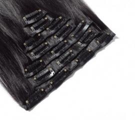 Clip in hair extension set zwart #1b  / 120 gram / 50 cm