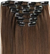 Synthetische clip in hair extension set / Mixed  #4/30 / 60cm