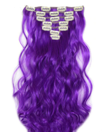 Synthetische clip in hair extension set / Paars golvend / 50 cm
