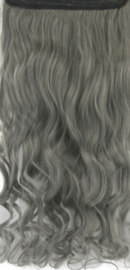 Clip in hair extensions strook / grijs  golvend / 60 cm