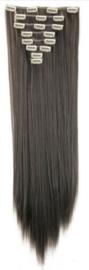 Synthetische clip in hair extension set / Donker grijs - stijl haar / 60 cm