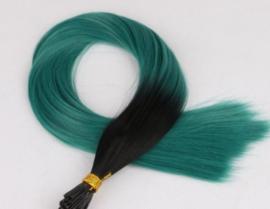 Synthetische feathers / ombre zwart - groen / 55 cm