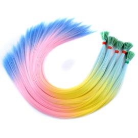 Synthetische feathers / regenboog  7 / 55 cm