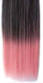 Clip in hair extensions strook /  Ombre zwart - licht roze / 55 cm