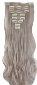Synthetische clip in hair extension set / Licht grijs /  60 cm