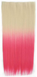 Clip in hair extension strook / Ombre blond - roze / 60 cm