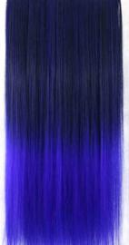Clip in hair extensions strook / ombre zwart - fel blauw / 55 cm