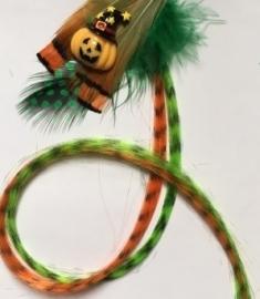 Halloween / feather extensions pompoen / KIES JOUW FAVORIETE KLEUR