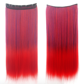 Clip in hair extension strook / Ombre rood - blauw / 60 cm