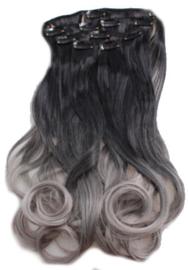 Synthetische clip in hair extension set / Ombre zwart/ grijs / 55 cm