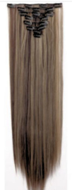 Synthetische clip in extension set / bruin - blond #4/27 / 66 cm