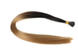 Synthetische feathers / ombre zwart - bruin blond  / 55 cm
