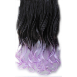 Clip in hair extension strook / Ombre zwart - pastel paars  / 50 cm