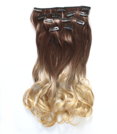 Synthetische clip in hair extension set / Ombre blonde  #12/25 / 55 cm