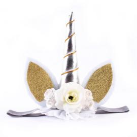 Haarband / Unicorn baby style zilver diadeem