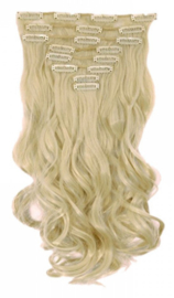 Synthetische clip in hair extensions set / Blond #613 / 43 cm