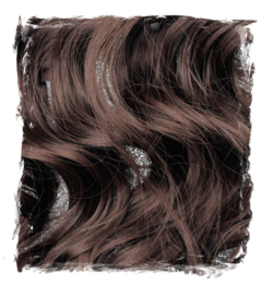 Synthetische clip in hair extensions set / Bruin  #A4 / 50 cm