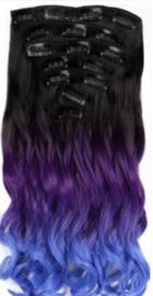 Synthetische clip in hair  extension set / ombre zwart - blauw - paars golvend / 50 cm