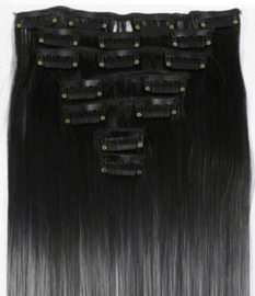 Synthetische clip in hair extension set / Ombre zwart - grijs haar / 60 cm