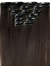 Synthetische clip in hair extension set / donker bruin - full brown #4/ 60 cm