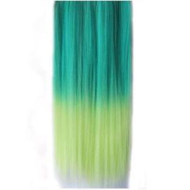 Clip in hair extensions strook / ombre groen - geel / 45 cm