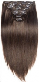 Clip in hair extensions set bruin  #4 /  70 gram / 50 cm