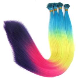 Synthetische feathers / regenboog  mixed / 55 cm