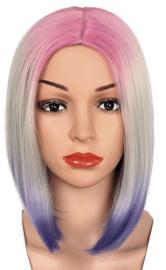 Pruik / Ombre roze- wit- blauw  boblijn / 33 cm