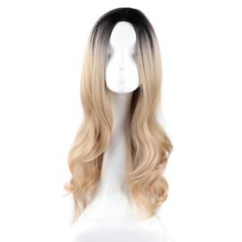Pruik /  Ombre zwart -- blond  / 55 cm
