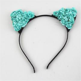 Haarband / miauw  cat blauwe bloemen