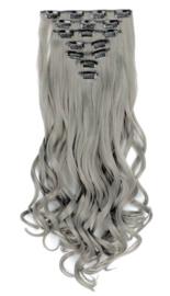 Synthetische clip in hair extension set / Donker grijs golvend / 55 cm