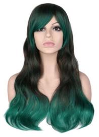 Pruik / Groen golvend haar - greendale / 70 cm