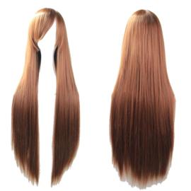 Pruik / Lang stijl bruin haar  / 80 cm