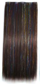 Clip in hair extension baan / 2-33# met glitters  / 60 cm