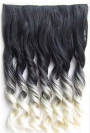 Clip in hair extension strook / Ombre zwart - blond / 50 cm