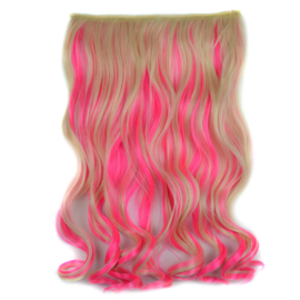 Clip in hair extension strook / Ombre golvend blond - fluo roze  / 45 cm