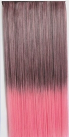 Clip in hair extension strook / Ombre  zwart - roze / 55 cm