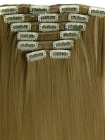 Synthetische clip in hair extension set / Mixed #24/27 / 60 cm