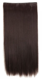 Clip in hair extensions baan / Donker bruin #4A /  43 cm