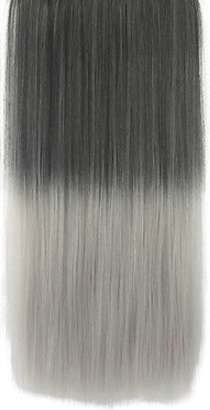 Clip in hair extension strook/ Ombre zwart - grijs / 60 cm