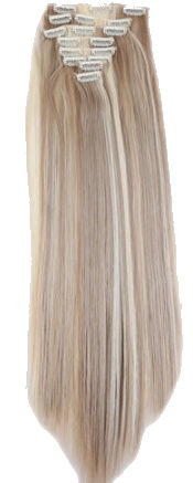Synthetische clip in extension set / mixed blond 16/613 / 60 cm
