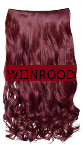 Clip in hair extension strook / Wijnrood / 50 cm