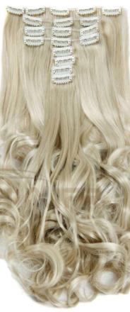 Synthetische clip in extension set / blond golvend #24/613  / 55 cm