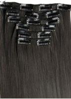 Synthetische clip in hair extension set / zwart - dark cacoa black #2  / 60 cm
