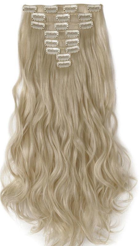 Synthetische clip in hair extensions set / Blond mix gekruld 86#613  / 43 cm