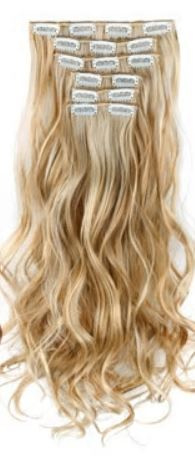 Synthetische clip in extension set / Blond 22-613# / 55 cm