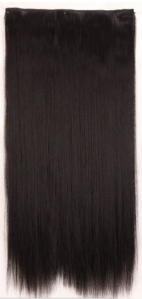 Clip in hair extension baan / zwart / 55 cm