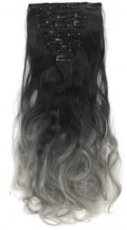Synthetische clip in hair extension set / Ombre zwart/ grijs / 60 cm