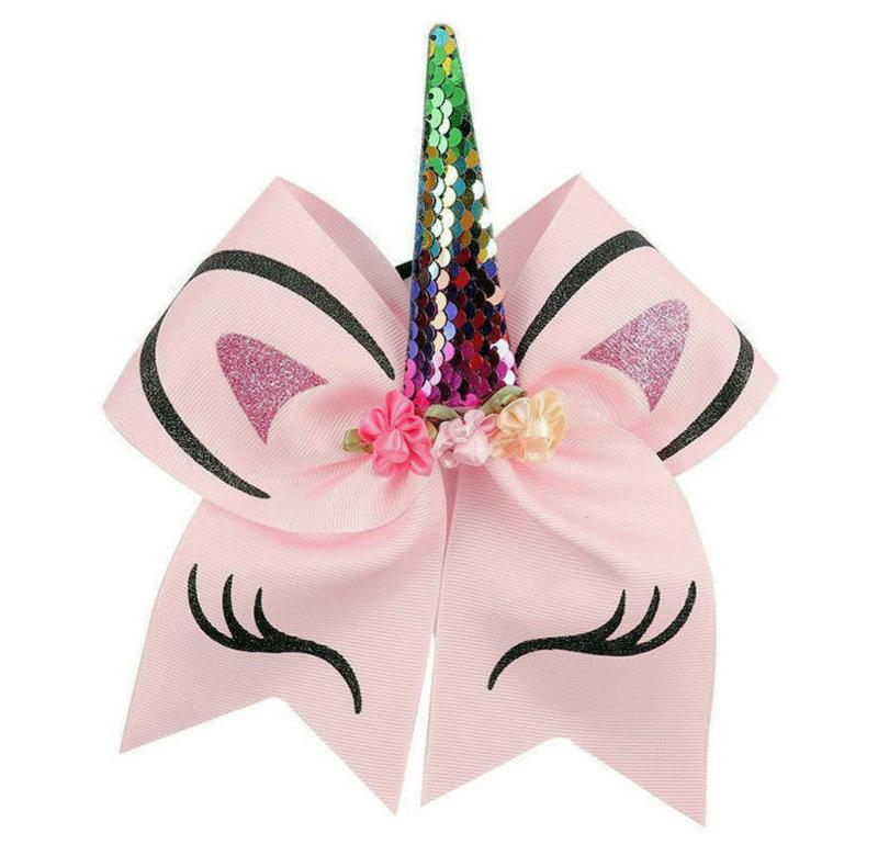 Haarelastiek / Unicorn roze met regenboog hoorn  / haarelastiek